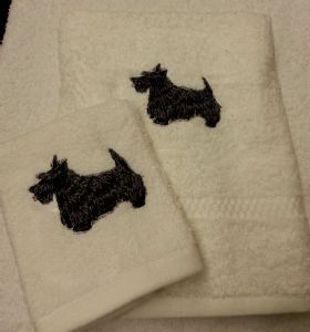 SCOTTIE PERSONALISED TOWEL SET - DEEP PINK BOW - DOG